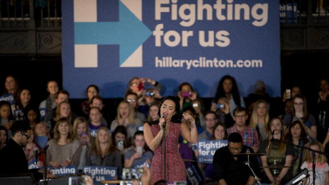 Demi Lovato performs at a rally for Democratic presidential candidate Hillary Clinton, on the campus of University of Iowa Thursday, Jan. 21, 2016, in Iowa City, Iowa. (AP Photo/Jae C. Hong)