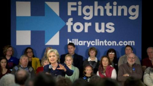 Democratic presidential candidate Hillary Clinton addresses supporters during a rally Thursday, Jan. 21, 2016, in Vinton, Iowa. (AP Photo/Jae C. Hong)