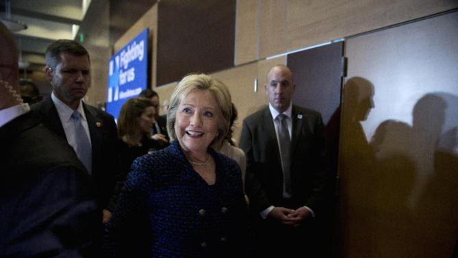 Democratic presidential candidate Hillary Clinton leaves after speaking at a rally on the campus of Simpson College, Thursday, Jan. 21, 2016, in Indianola, Iowa. (AP Photo/Jae C. Hong)