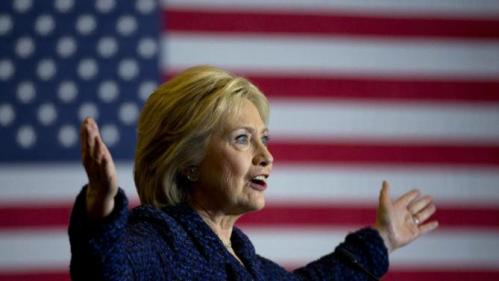 Democratic presidential candidate Hillary Clinton gestures while speaking during a rally on the campus of Simpson College, Thursday, Jan. 21, 2016, in Indianola, Iowa. (AP Photo/Jae C. Hong)