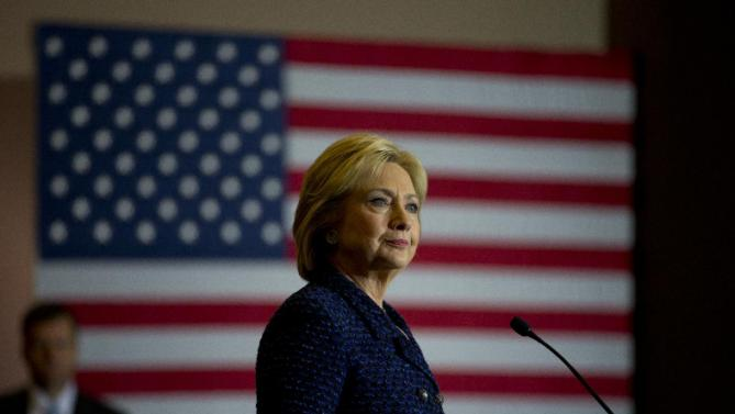 Democratic presidential candidate Hillary Clinton pauses while speaking at a rally  on the campus of Simpson College Thursday, Jan. 21, 2016, in Indianola, Iowa. (AP Photo/Jae C. Hong)