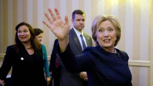 Democratic presidential candidate Hillary Clinton waves Friday, Jan. 22, 2016, at a NARAL Pro-Choice dinner in Concord, N.H. (AP Photo/Matt Rourke)