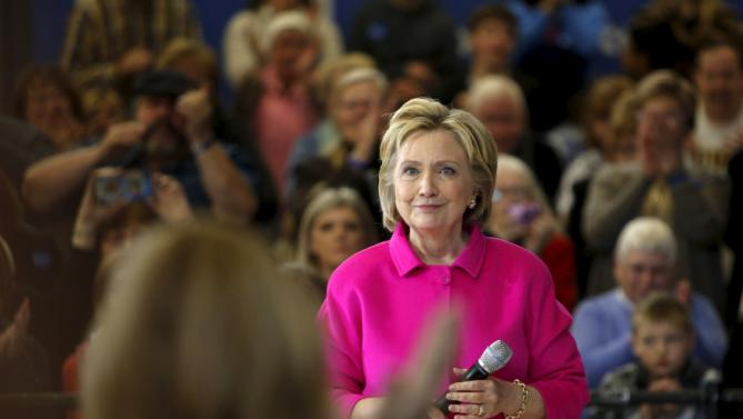Democratic U.S. presidential candidate Hillary Clinton looks at the audience during a Get Out the Caucus event at the Eagle Heights Elementary School in Clinton, Iowa, January 23, 2016. REUTERS/Scott Morgan