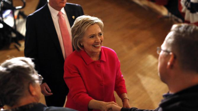 Democratic presidential candidate Hillary Clinton greets attendees after speaking at a campaign event at Danceland Ballroom in Davenport, Iowa, Saturday, Jan. 23, 2016. (AP Photo/Patrick Semansky)