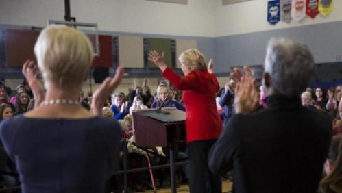 Democratic presidential candidate Hillary Clinton speaks during a campaign rally at Burford Garner Elementary School, on Sunday, Jan. 24, 2016, in North Liberty, Iowa. (AP Photo/Evan Vucci)