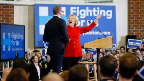 Democratic presidential candidate Hillary Clinton greets Chad Griffin, president of the Human Rights Campaign, at Valley Southwoods Freshman High School in West Des Moines, Iowa, Sunday, Jan. 24, 2016. (AP Photo/Patrick Semansky)