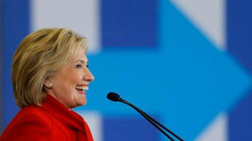 Democratic presidential candidate Hillary Clinton speaks at Valley Southwoods Freshman High School in West Des Moines, Iowa, Sunday, Jan. 24, 2016. (AP Photo/Patrick Semansky)