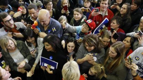 Democratic presidential candidate Hillary Clinton greets supporters after speaking at Valley Southwoods Freshman High School in West Des Moines, Iowa, Sunday, Jan. 24, 2016. (AP Photo/Patrick Semansky)