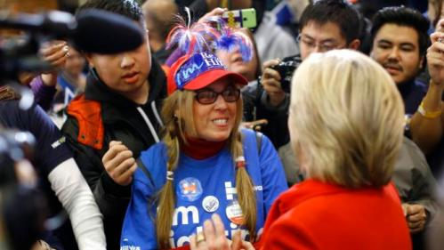 Democratic presidential candidate Hillary Clinton, right, greets a supporter after speaking at Valley Southwoods Freshman High School in West Des Moines, Iowa, Sunday, Jan. 24, 2016. (AP Photo/Patrick Semansky)