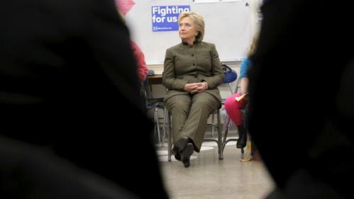 U.S. Democratic presidential candidate Hillary Clinton listens during a meeting with the group Every Child Matters at the Berg Middle School in Newton, Iowa January 28, 2016. REUTERS/Brian Snyder