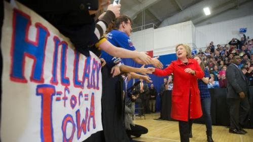 Democratic presidential candidate Hillary Clinton arrives to speaks at a rally at Washington High School in Cedar Rapids, Iowa, Saturday, Jan. 30, 2016. (AP. Photo/Andrew Harnik)