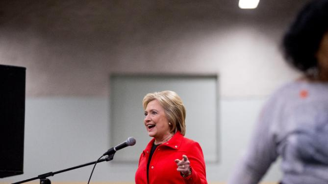 Democratic presidential candidate Hillary Clinton speaks at the African American Festival I'll Make Me a World Celebration Day at the Iowa Events Center in Des Moines, Iowa, Saturday, Jan. 30, 2016. (AP Photo/Andrew Harnik)