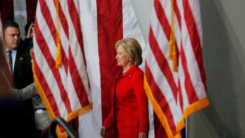 """U.S. Democratic presidential candidate Hillary Clinton arrives at a """"Get Out to Caucus"""" rally at Iowa State University in Ames, Iowa January 30, 2016. The New York Times's editorial board endorsed Democrat Hillary Clinton and Republican John Kasich as they seek to become their parties' nominees in the U.S. presidential election, calling Clinton one of the most """"deeply qualified presidential candidates in modern history."""" REUTERS/Brian Snyder"""