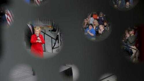 """U.S. Democratic presidential candidate Hillary Clinton speaks during a """"Get Out to Caucus"""" rally at Iowa State University in Ames, Iowa January 30, 2016. REUTERS/Brian Snyder"""