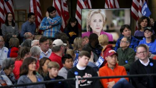 "A video introduces U.S. Democratic presidential candidate Hillary Clinton at a ""Get Out to Caucus"" rally at Iowa State University in Ames, Iowa January 30, 2016. REUTERS/Brian Snyder"