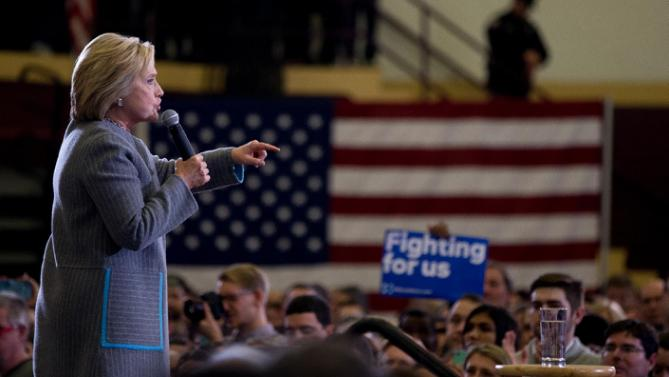 Democratic presidential candidate Hillary Clinton speaks at a rally at Abraham Lincoln High School in Des Moines, Iowa, Sunday, Jan. 31, 2016. (AP Photo/Andrew Harnik)