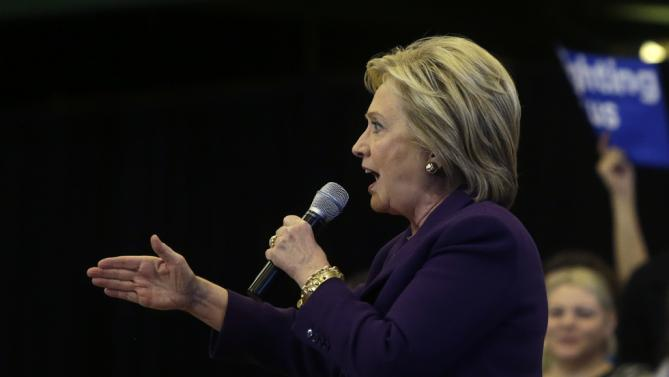 Democratic presidential candidate Hillary Clinton speaks at a campaign event, Tuesday, Feb. 2, 2016, in Nashua, N.H. (AP Photo/Elise Amendola)