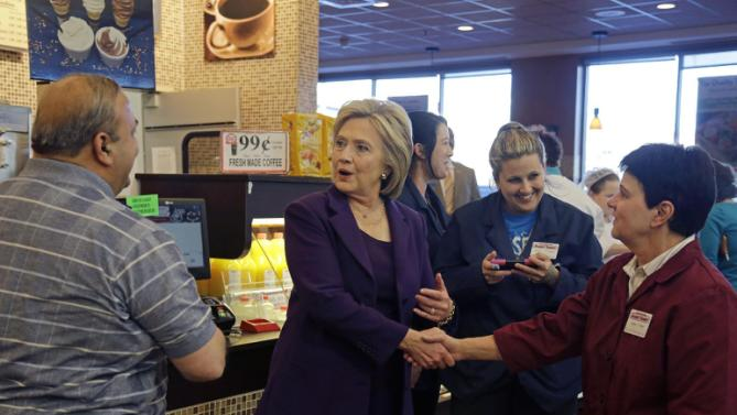 Democratic presidential candidate Hillary Clinton greets customers and employees at Market Basket Supermarket, Tuesday, Feb. 2, 2016, in Manchester, N.H. (AP Photo/Elise Amendola)