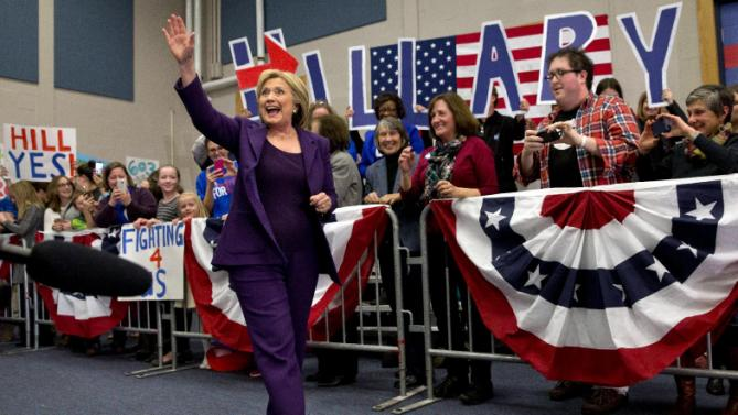 Democratic presidential candidate Hillary Clinton waves to supporters as she arrives for an event in Hampton, N.H., Tuesday Feb. 2, 2016, on her first day in New Hampshire after winning the Iowa Caucus. (AP Photo/Jacquelyn Martin)