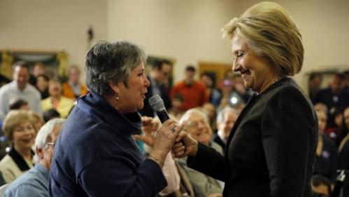 Democratic presidential candidate Hillary Clinton takes a question during a campaign stop, Wednesday, Feb. 3, 2016, in Derry, N.H. (AP Photo/Matt Rourke)