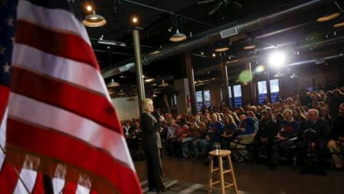 The U.S. flag is seen as U.S. Democratic presidential candidate Hillary Clinton attends a campaign event in Dover, New Hampshire February 3, 2016. REUTERS/Adrees Latif