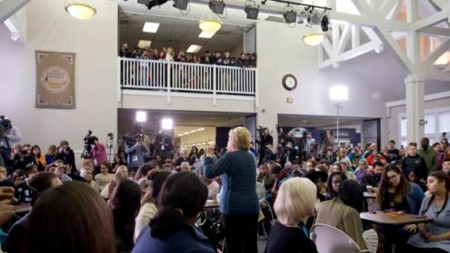 Democratic presidential candidate Hillary Clinton speaks at a student town hall at New England College in Henniker, N.H., Saturday, Feb. 6, 2016. (AP Photo/Jacquelyn Martin)