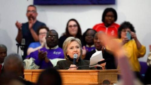 Democratic presidential candidate Hillary Clinton speaks at the House Of Prayer Missionary Baptist Church, Sunday, Feb. 7, 2016 in Flint, Mich. (AP Photo/Paul Sancya)