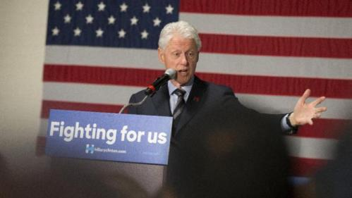 Former President Bill Clinton campaigns for his wife, Democratic presidential candidate Hillary Clinton, Friday, Feb. 12, 2016, at the Clifton Cultural Arts Center in Cincinnati. (AP Photo/John Minchillo)