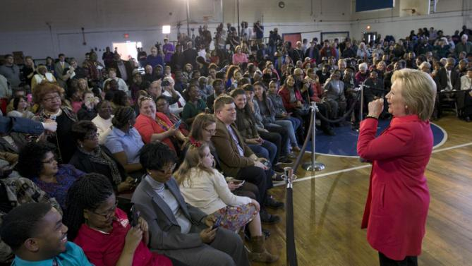 Democratic presidential candidate Hillary Clinton answers a questions during a town hall meeting at Denmark Olar Elementary School in Denmark, S.C., Friday Feb. 12, 2016. (AP Photo/Jacquelyn Martin)