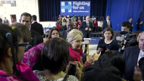 Democratic presidential candidate Hillary Clinton greets people after speaking at a town hall meeting at Denmark Olar Elementary School in Denmark, S.C., Friday Feb. 12, 2016. (AP Photo/Jacquelyn Martin)