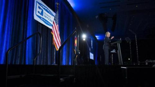 Democratic presidential candidate Hillary Clinton speaks during the Jefferson Jackson Dinner, on Saturday, Feb. 13, 2016, in Denver. (AP Photo/Evan Vucci)
