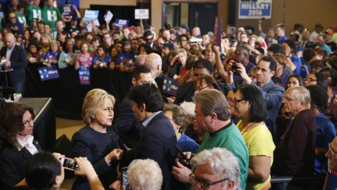 Democratic presidential candidate Hillary Clinton speaks with supporters during a rally, Saturday, Feb. 13, 2016, in Henderson, Nev. (AP Photo/John Locher)