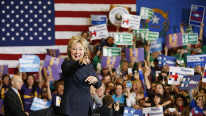 Democratic presidential candidate Hillary Clinton speaks at a rally, Saturday, Feb. 13, 2016, in Henderson, Nev. (AP Photo/John Locher)