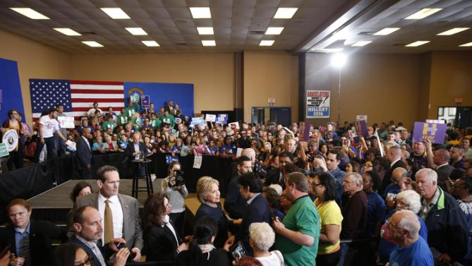 Democratic presidential candidate Hillary Clinton meets with supporters at a rally Saturday, Feb. 13, 2016, in Henderson, Nev. (AP Photo/John Locher)