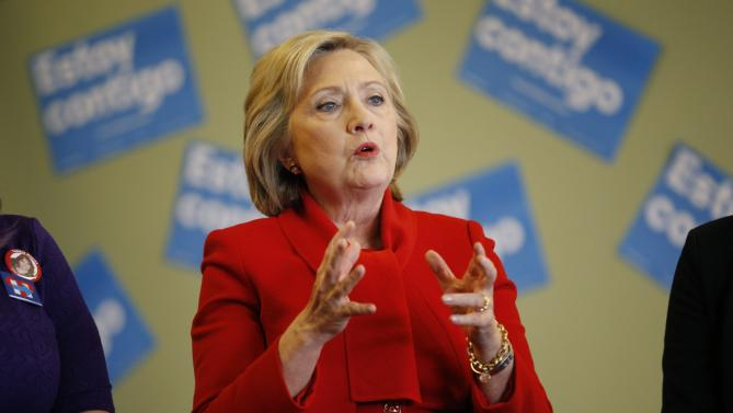 "Democratic presidential candidate Hillary Clinton speaks at an event to meet with young immigrants, or ""dreamers,"" at a campaign office Sunday, Feb. 14, 2016, in Las Vegas.  (AP Photo/John Locher)"