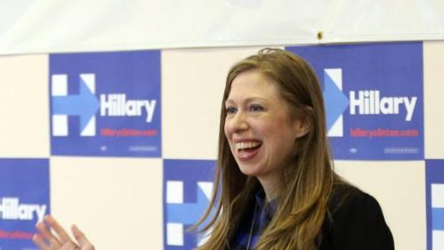 Chelsea Clinton is introduced as she arrives to speak at the Murtis H. Taylor Community Center, Monday, Feb. 15, 2016, in Cleveland. Clinton made a campaign stop for her mother, Democratic presidential candidate Hillary Clinton, to talk with voters. (AP Photo/Aaron Josefczyk)