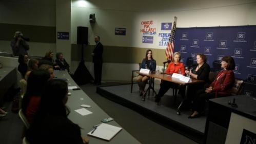 Democratic presidential candidate Hillary Clinton, second from left, joins in on a women's health round table alongside fellow panelists Courtney McKimmey, left, Sheila Leslie, second from right, and Trudy Larson at the University of Nevada on Monday, Feb. 15, 2016, in Reno, Nev. (AP Photo/Marcio Jose Sanchez)