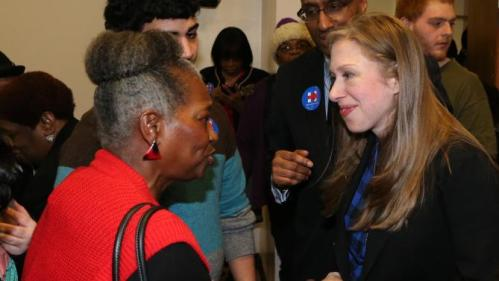 Chelsea Clinton shakes hands with voters after speaking at the Murtis H. Taylor Community Center, Monday, Feb. 15, 2016, in Cleveland. Clinton made a campaign stop for her mother, Democratic presidential candidate Hillary Clinton, to talk with voters. (AP Photo/Aaron Josefczyk)