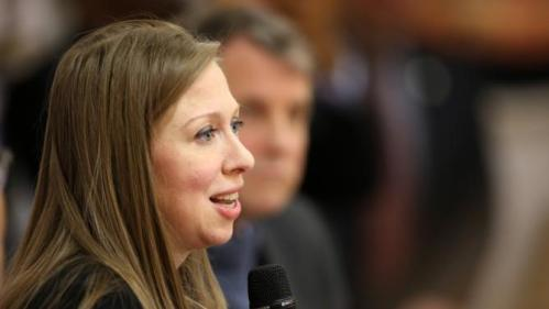Chelsea Clinton speaks at the Murtis H. Taylor Community Center, Monday, Feb. 15, 2016, in Cleveland. Clinton made a campaign stop for her mother, Democratic presidential candidate Hillary Clinton, to talk with voters. (AP Photo/Aaron Josefczyk)