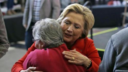 Democratic presidential candidate Hillary Clinton hugs a supporter after speaking at a rally at Truckee Meadows Community College on Monday, Feb. 15, 2016, in Reno, Nev. (AP Photo/Marcio Jose Sanchez)