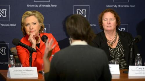 U.S. Democratic presidential candidate Hillary Clinton takes questions during a roundtable on women's health at the University of Nevada, Reno in Reno, Nevada February 15, 2016. REUTERS/James Glover II