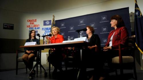 U.S. Democratic presidential candidate Hillary Clinton speaks during a roundtable on women's health at the University of Nevada, Reno in Reno, Nevada February 15, 2016.  REUTERS/James Glover II
