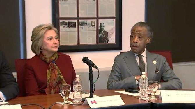 """Civil rights activist Al Sharpton talks about """"collective leverage"""" on presidential candidates after meeting with Hillary Clinton and other African-American leaders. Rough Cut (no reporter narration)."""