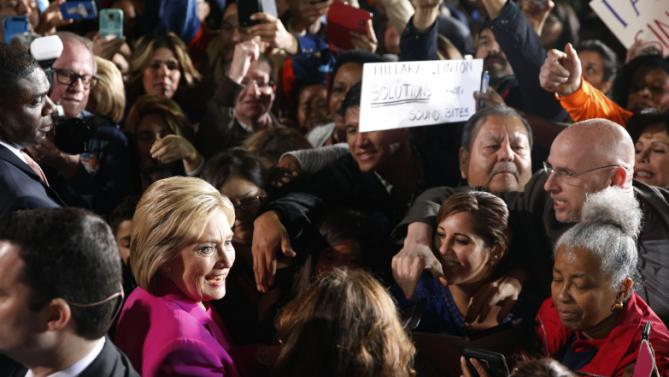 Democratic presidential candidate Hillary Clinton meets with supporters after speaking at a rally Thursday, Feb. 18, 2016, in Las Vegas. (AP Photo/John Locher)