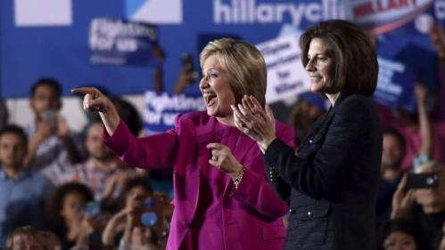 U.S. Democratic presidential candidate Hillary Clinton (L) appears on stage with Nevada Senate candidate Catherine Cortez Masto at a campaign rally at the Laborers International Union hall in Las Vegas, Nevada February 18, 2016. REUTERS/David Becker