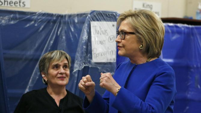 Democratic presidential candidate Hillary Clinton meets with employees of Caesars Palace during a visit to the hotel and casino Thursday, Feb. 18, 2016, in Las Vegas. (AP Photo/John Locher)