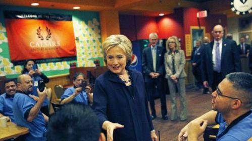 Democratic presidential candidate Hillary Clinton meets with employees of the Rio during a visit to the hotel and casino, Thursday, Feb. 18, 2016, in Las Vegas. (AP Photo/John Locher)