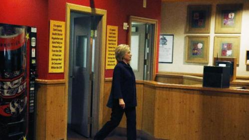Democratic presidential candidate Hillary Clinton visits the Rio hotel and casino during a campaign stop, Thursday, Feb. 18, 2016, in Las Vegas. (AP Photo/John Locher)
