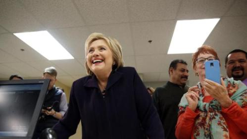 Democratic presidential candidate Hillary Clinton tours Paris Las Vegas during a visit to the hotel and casino Thursday, Feb. 18, 2016, in Las Vegas. (AP Photo/John Locher)