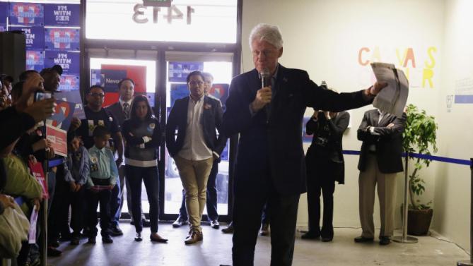 Former President Bill Clinton campaigns for his wife, Democratic presidential candidate Hillary Clinton, Friday, Feb. 19, 2016, in Reno, Nev. (AP Photo/Marcio Jose Sanchez)